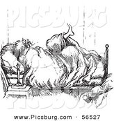 Clip Art of a Man Tangled in Blankets in His Bedroom - Black and White by Picsburg