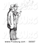 Clip Art of a Men Smoking Cigarettes - Black and White by Picsburg