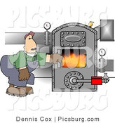 Clip Art of a Middle Aged Man Opening the Door of a Hot Boiler with Valves by Djart