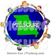 Clip Art of a Missouri Globe and People Holding Hands by Djart