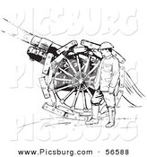 Clip Art of a Navy Soldier Shooting Siege Gun - Black and White by Picsburg