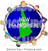 Clip Art of a New Hampshire Globe and People Holding Hands by Djart