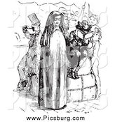 Clip Art of a Nun and People on a Boat in Black and White by Picsburg