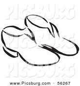 Clip Art of a Pair of Shoes - Black and White Line Art by Picsburg