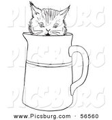 Clip Art of a Playful Kitten in a Water Pitcher - Black and White Line Art by Picsburg