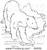 Clip Art of a Polar Bear Standing on an Ice Ledge near Mountains - Black and White Line Art by Picsburg