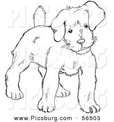 Clip Art of a Puppy Dog Looking Alert - Black and White Line Art by Picsburg