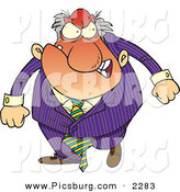 Clip Art of a Red and Mad Boss Man in Purple Gritting His Teeth by Toonaday