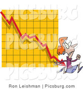 Clip Art of a Red Headed Afraid Woman Running from a Bar on a Declining Graph by Toonaday