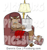 Clip Art of a Relaxed Cow Sitting on a Recliner Chair and Reading a Newspaper with His Feet up by Djart