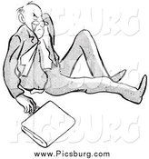 Clip Art of a Retro Black and White Angry Man After Falling by Picsburg