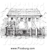 Clip Art of a Retro Boat Station in Black and White by Picsburg
