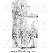 Clip Art of a Retro Boy Watching People from over a Courtyard in Black and White by Picsburg