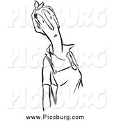 Clip Art of a Retro Curious Woman Black and White by Picsburg