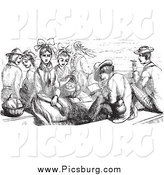 Clip Art of a Retro Group of People Sitting on a Boat in Black and White by Picsburg