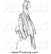 Clip Art of a Retro Happy Man with a Lunch Box and Papers Black and White by Picsburg