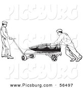 Clip Art of a Retro in US Navy Soldiers Hauling a Large Ammunition Shell Black and White by Picsburg