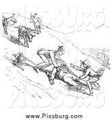 Clip Art of a Retro Man Falling off a Donkey on a Hillside, in Black and White by Picsburg