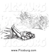 Clip Art of a Retro Man Sleeping in a Toppled Chair in Black and White by Picsburg