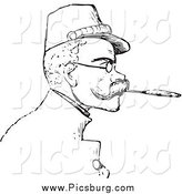 Clip Art of a Retro Man Smoking a Cigarette with a Filter by Picsburg