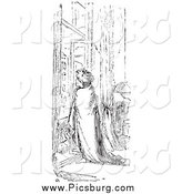 Clip Art of a Retro Man Wrapped in a Blanket at a Window in Black and White by Picsburg