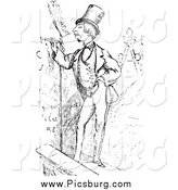 Clip Art of a Retro Man Writing His Name on a Roof in Black and White by Picsburg