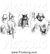 Clip Art of a Retro People in Black and White by Picsburg