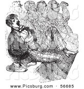 Clip Art of a Retro Sketch of a Vintage Man at the Opera in Black and White by Picsburg