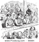 Clip Art of a Retro Sketch of Vintage People in a Theater in Black and White by Picsburg