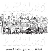 Clip Art of a Retro Vintage Crowd Dining in a Black and White Outline by Picsburg