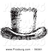 Clip Art of a Retro Vintage Furry Top Hat in Black and White by Picsburg