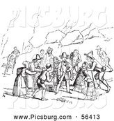 Clip Art of a Retro Vintage Group of Beggars in Black and White - Artwork by Picsburg