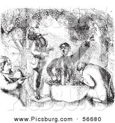Clip Art of a Retro Vintage Group of Men Eating Grapes and Breakfast in Black and White by Picsburg