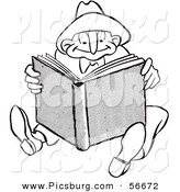 Clip Art of a Retro Vintage Man Reading a Book Black and White Coloring Page by Picsburg