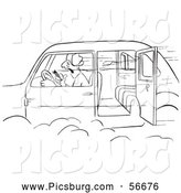 Clip Art of a Retro Vintage Man Smoking a Cigar in a Speeding Car with an Open Door Black and White - Coloring Page Outline by Picsburg