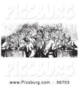Clip Art of a Retro Vintage Restaurant on the Rhine Boat in Black and White Sketch by Picsburg