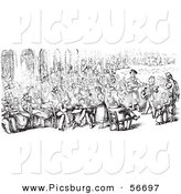 Clip Art of a Retro Vintage Sketch of a Crowd in Piazza San Marco in Black and White by Picsburg