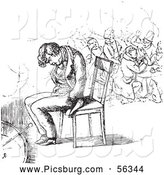 Clip Art of a Retro Vintage Sketch of a Man Sleeping in a Chair in Black and White by Picsburg