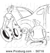 Clip Art of a Retro Vintage Woman Offering Ruined Spare Tires for Her Husband Car Black and White Coloring Page by Picsburg