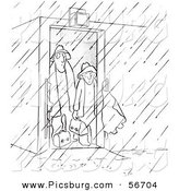 Clip Art of a Retro Vintage Worker Men Contemplating Going out in the Rain, a Black and White Sketch by Picsburg