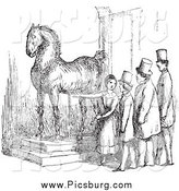 Clip Art of a Retro Woman Presenting Wallensteins Horse in Black and White by Picsburg