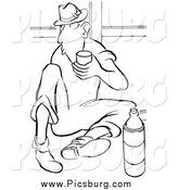 Clip Art of a Retro Worker Man Drinking Water on His Break Black and White by Picsburg
