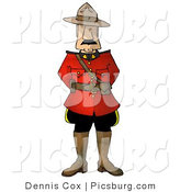 Clip Art of a Royal Canadian Mounted Police (RCMP) Officer Man on White by Djart