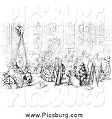 Clip Art of a Scene at Academia Hall in Black and White by Picsburg