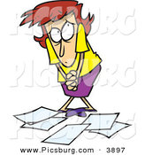 Clip Art of a Shy White Woman Worker Being Scolded for Dropping Papers by Toonaday