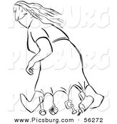 Clip Art of a Smart Woman Weighing down Her Dress While Walking in Windy Weather - Black and White Line Art by Picsburg