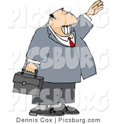 Clip Art of a Smiling Balding Businessman Waving Hello or Goodbye by Djart
