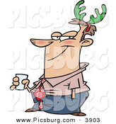 Clip Art of a Smiling White Man Wearing Green Christmas Antlers on His Head by Toonaday