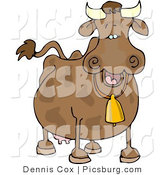 Clip Art of a Spotted Brown Cow Wearing a Yellow Bell by Djart
