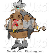 Clip Art of a Spotted Brown Cowboy Cow by Djart